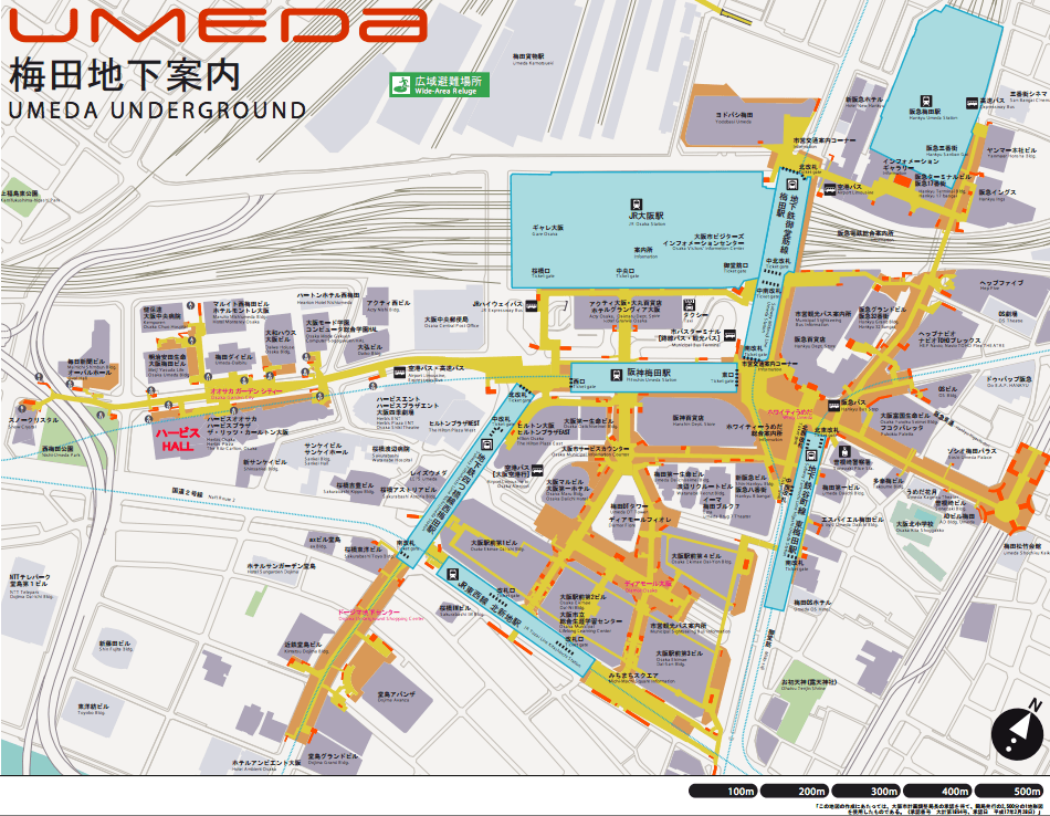 How To Reach The Many Umeda Stations From JR Osaka Station - Japan underground map