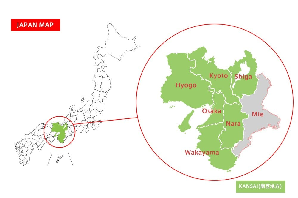 Japanese Encyclopedia Kansai Chihō Kansai Region MATCHA - Japan map by region
