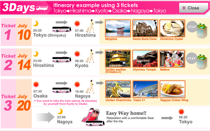 Japan Bus Pass: Unlimited Rides on High-Way Busses Around Japan!