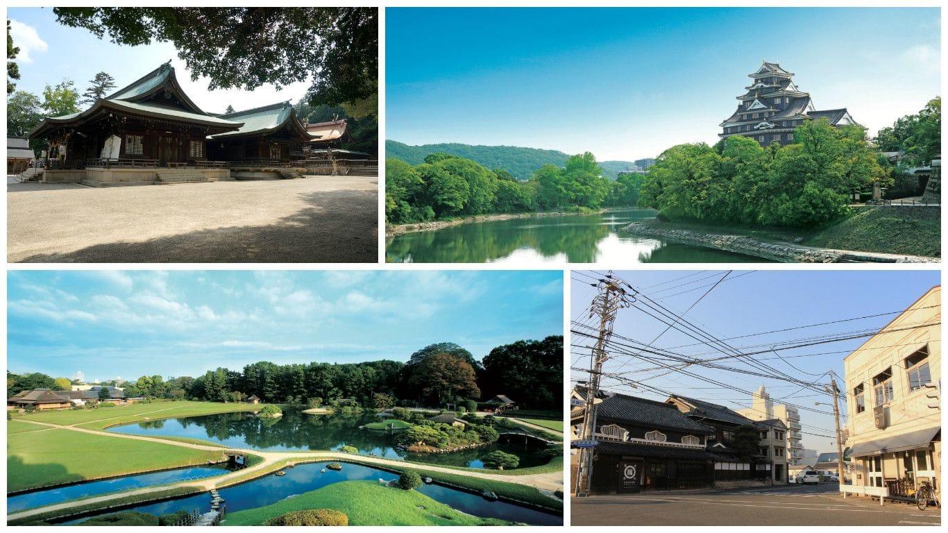 오카야마시의 관광지 5선 (오가야마 고라쿠엔/오가야마성/이즈시쵸/키비츠히코 신사/노면 전차)