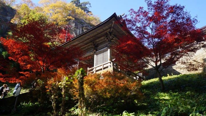 【东北山形】千年山寺,悬崖峭壁与白雪红叶的绝景