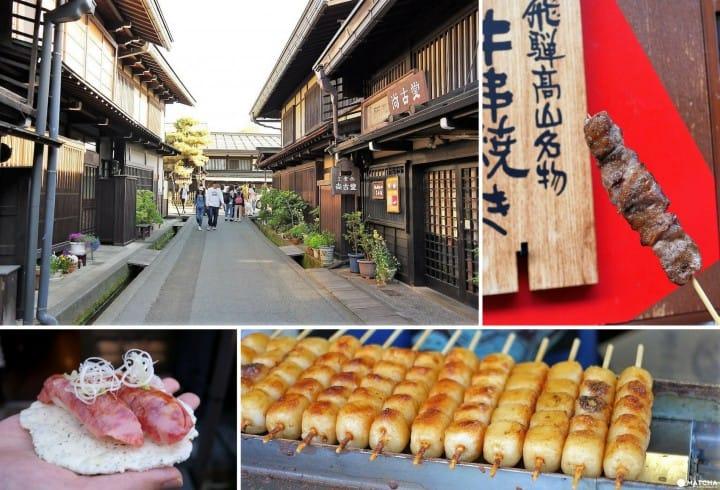 牛肉串和牛肉壽司,還有御手洗糰子……邊逛邊享用飛驒高山老街裡的美味小吃