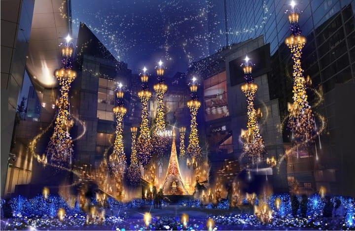 2017東京聖誕景點燈飾 汐留Caretta