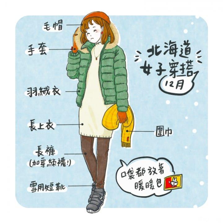 冬季12月北海道女天氣穿搭