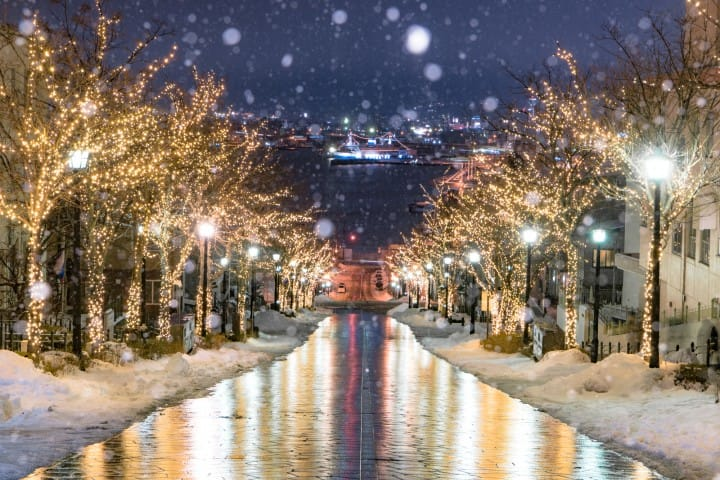函館冬雪八幡坂