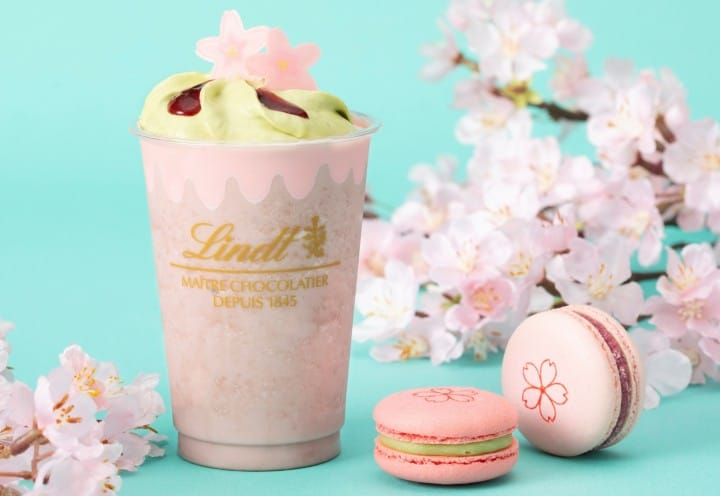 Lindt Sakura Iced White Chocolate Drink And Délice Macarons