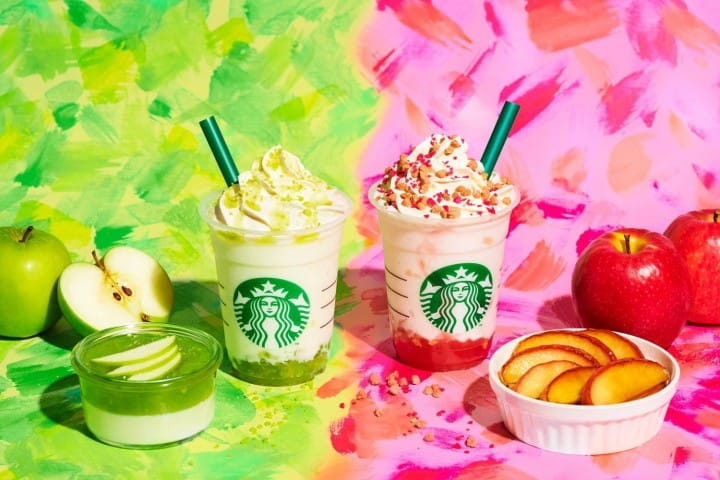 Starbucks Green Apple Jelly And Baked Apple Pink Frappuccino
