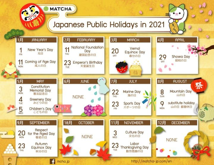 Japanese Public Holidays And Long Weekends In 2020 And 2021